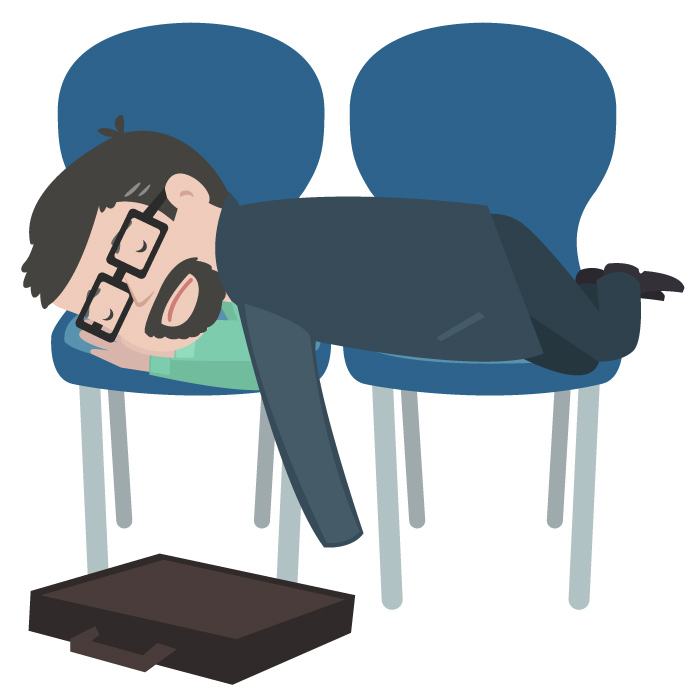 Illustration of man who has fallen asleep on a chair