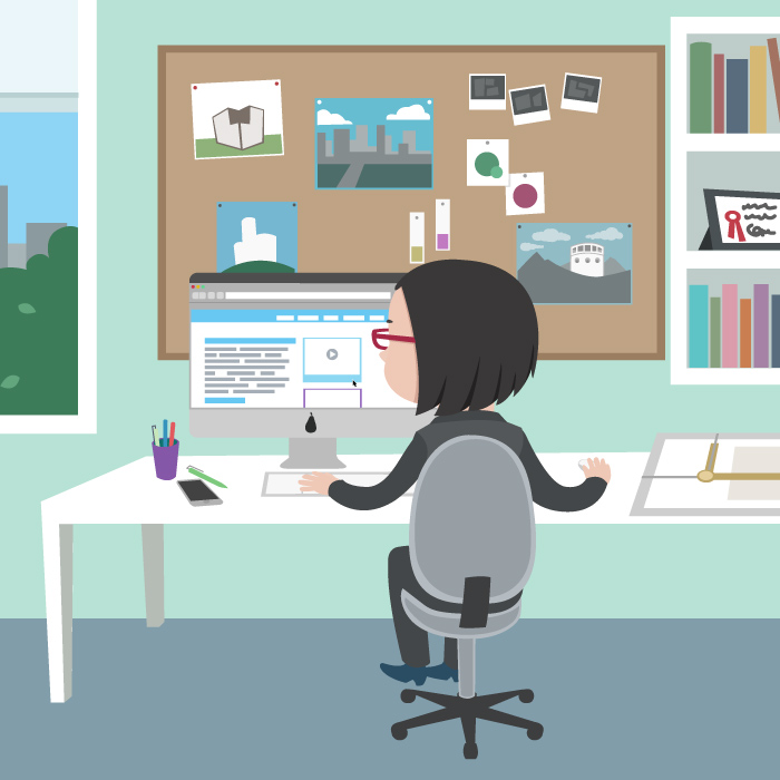 Illustration of woman who is working behind a fake mac