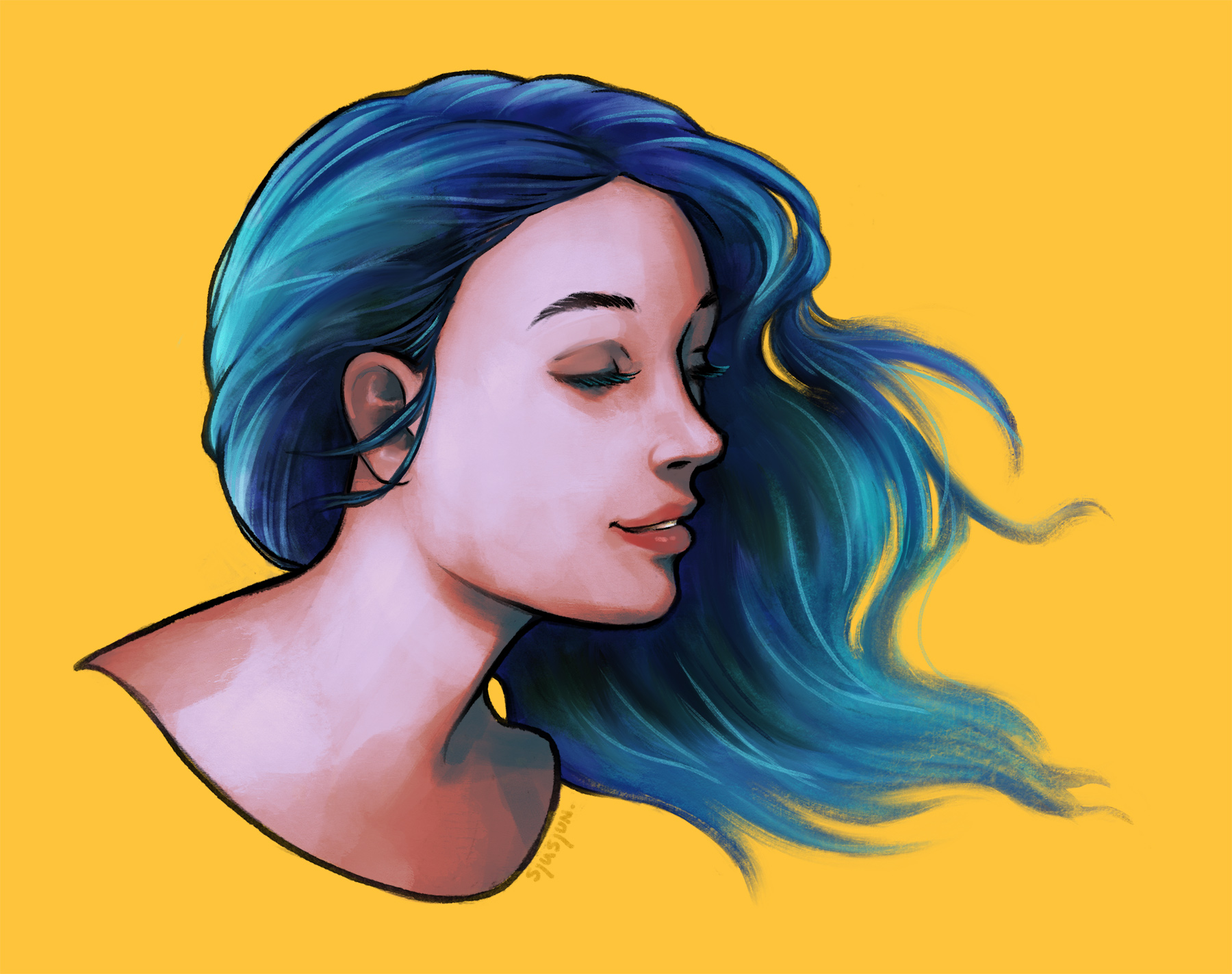 Blue haired girl on yellow background