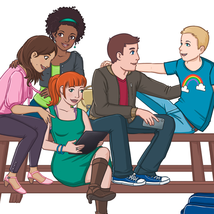 Preview illustration of a group of LGBTQ young people sitting together on a picknick table